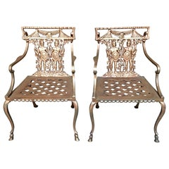 Pair of Romanesque Garden Chairs