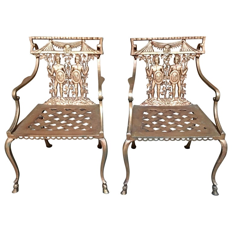 Pair of Romanesque Garden Chairs For Sale