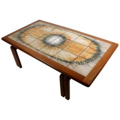 Danish Style Tile-Top Coffee Table Attributed Ox Art