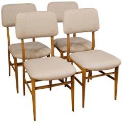 20th Century Gray Fabric 4 Italian Design Chairs, 1950