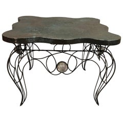 Unique Handwrought Iron & Crystal Center or Dining Table by Andre Dubreuil, 1986