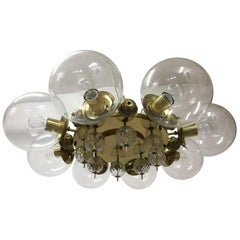 Large Midcentury Brass Chandelier with Eight Hand Blown Brass Globes ,1950s