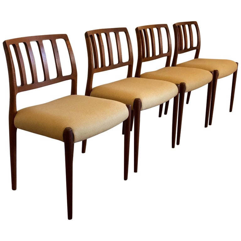 Set of Classic Teak Dining Chairs by Moller For Sale