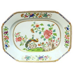 "Antique English Spode Earthenware Hand Painted ""Peacock and Peony"" Large Platter"