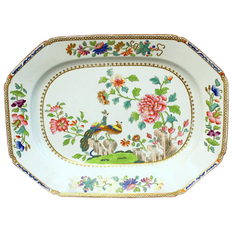 """Antique English Spode Earthenware Hand Painted """"Peacock and Peony"""" Large Platter For Sale"""