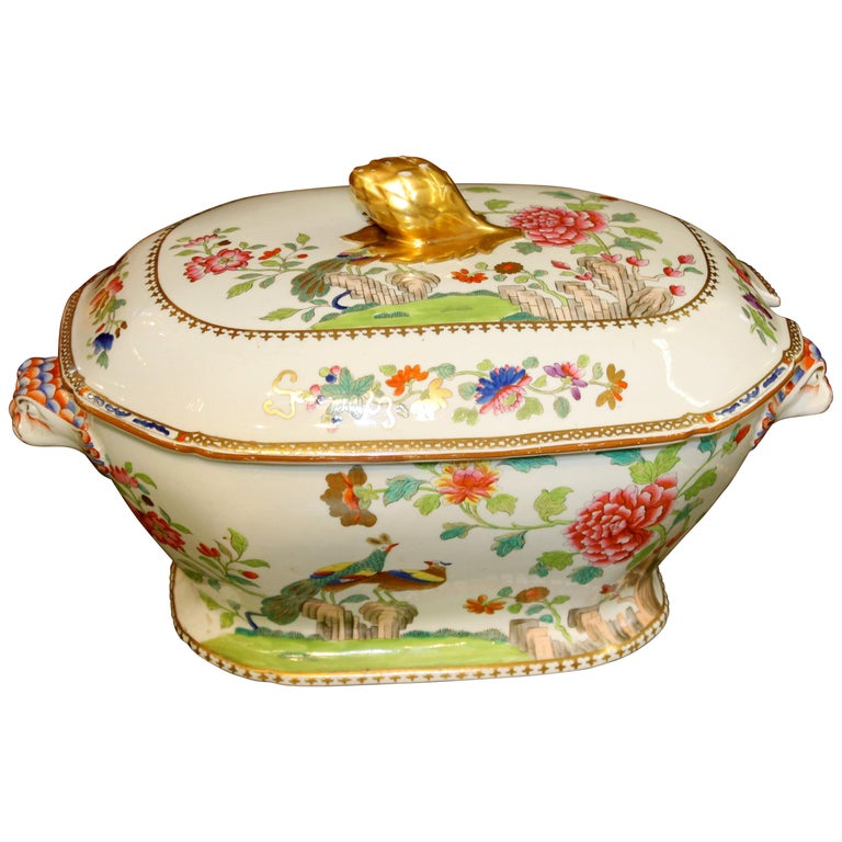 """Antique English Early Spode Earthenware """"Peacock and Peony"""" Soup Tureen and Lid For Sale"""