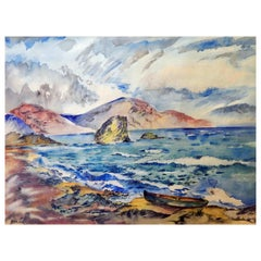 Signed David Burliuk Watercolor Seascape, 1947