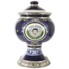 Ave Maria Glas, Keramik und weißes Metall 'Alpaca', handgefertigt mit Engelchen
