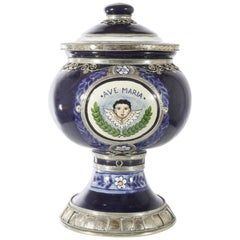 Ave Maria Jar, Ceramic and White Metal 'Alpaca', Handmade with Cherubs
