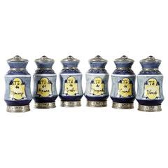 Set aus 9 Apothekengläsern aus Keramik und Alpacca-Weißmetall