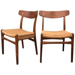 Pair of Model CH-23 Dining Chairs with Rope Seats by Hans Wegner for Carl Hansen
