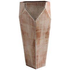 Facet Gray, Rust, and Black Tall Modern Geometric Ceramic Tower Vase