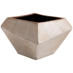 Facet Matte Gray and Black Modern Geometric Ceramic Vessel