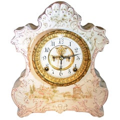 Antique Ansonia Porcelain Mantel Clock with Dutch Countryside Scene