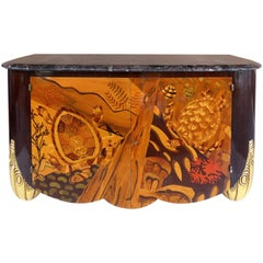 Italian Art Deco Style Marble-Top Cabinet with Marquetry of Sea Turtles