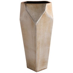 Facet Matte Gray and Black Tall Modern Geometric Ceramic Tower Vase