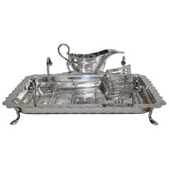 English circa 1925 Silver Plate Five-Piece Asparagus Stand and Serving Set