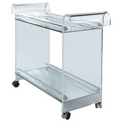 Mid-century Modern Lucite Tea or Bar Cart on Casters