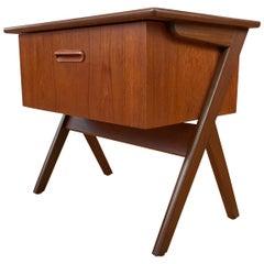 Midcentury Danish Modern Teak Sewing Box Table