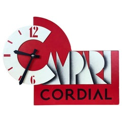 1980s Vintage Campari Cordial Advertising Clock in Cardboard Made in Italy