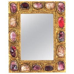 Small Mid-Century Modern Stucco Mirror with Pink, Red and Purple Rock Crystals