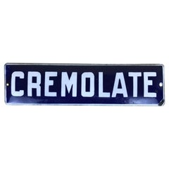"1950s Italian Vintage Blue Enamel ""Cremolate"" Ice Cream Sign"