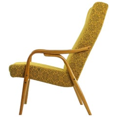 Tall Midcentury Armchairs by TON in Original Yellow Fabric, Czechoslovakia 1960s