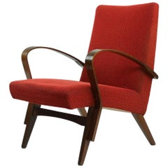 Midcentury Bentwood Armchair in Original Red Fabric, Czechoslovakia, circa 1960