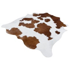 Organic Modern Natural White and Brown Cowhide or Rug, Dutch Cattle, 2018