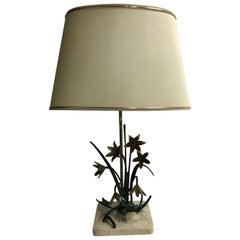 Bronze Flower Table Lamp, 1970s