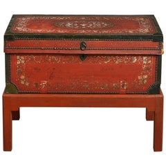 18th Century Chinese Export Painted Leather Trunk