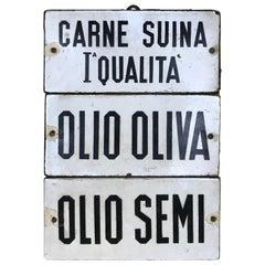 Italienisches Vintage Emaille Metall Olivenöl und Gastronomie Schild, 1930er