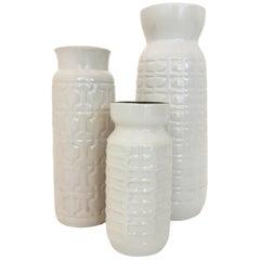 Set of Three Modernist Austrian Pottery Mid-Century Modern Vessels Vases