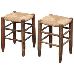 Pair of Charlotte Perriand, Mid Century Modern, Rattan Wood French Stools, 1950