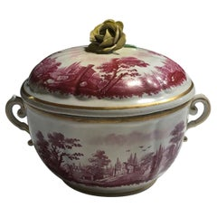 Italy Richard Ginori Mid-18th Century Pink Porcelain Covered Cup with Landscapes