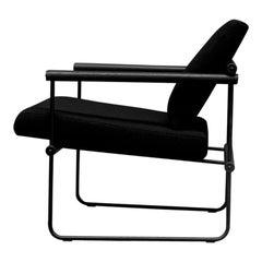 Mid century modern light black frame black wooden armrest armchair Audrey Ghyczy