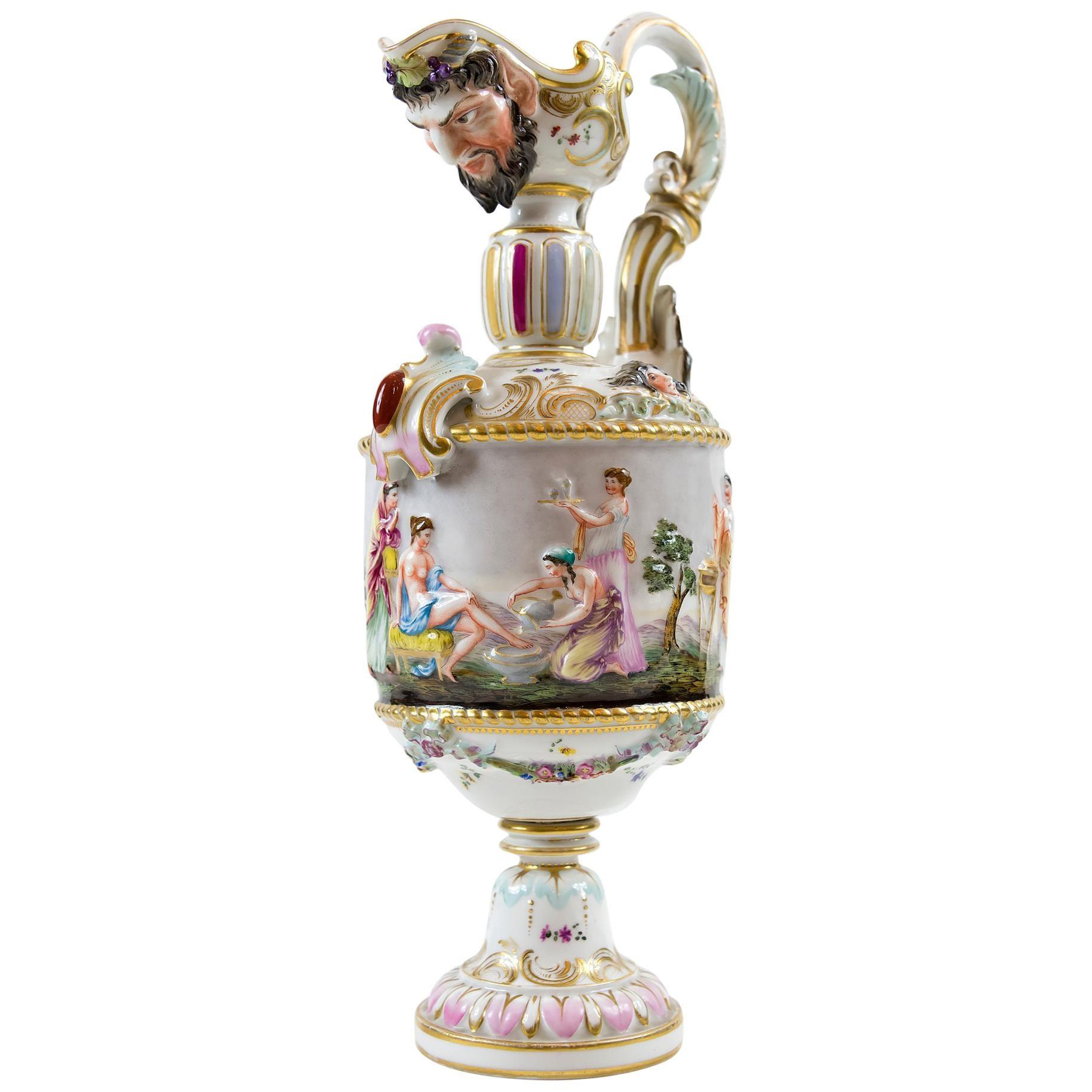 Antique Capodimonte Porcelain Pitcher, circa 1900