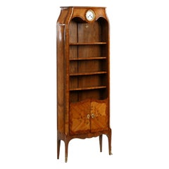 Louis XV Style French Antique Biblioteque Bookcase with Clock, 20th Century