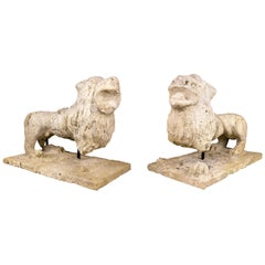 Pair of Renaissance Stone Lion Sculptures, 16th Century, France