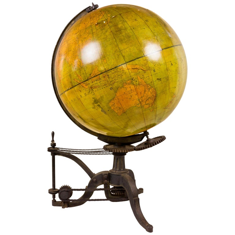 Very Large 19th Century World Globe, France For Sale