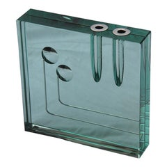 Modern Sculptural Vase Gallotti & Radice 1970 Mirrored Square Form Italian