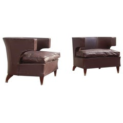 Pair of Lajos Kozma Art Deco Brown Faux Leather Hungarian Armchairs 1930s