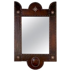 French Adnet Style Art Deco Brown Leather and Brass Claws Covered Mirror, 1920s
