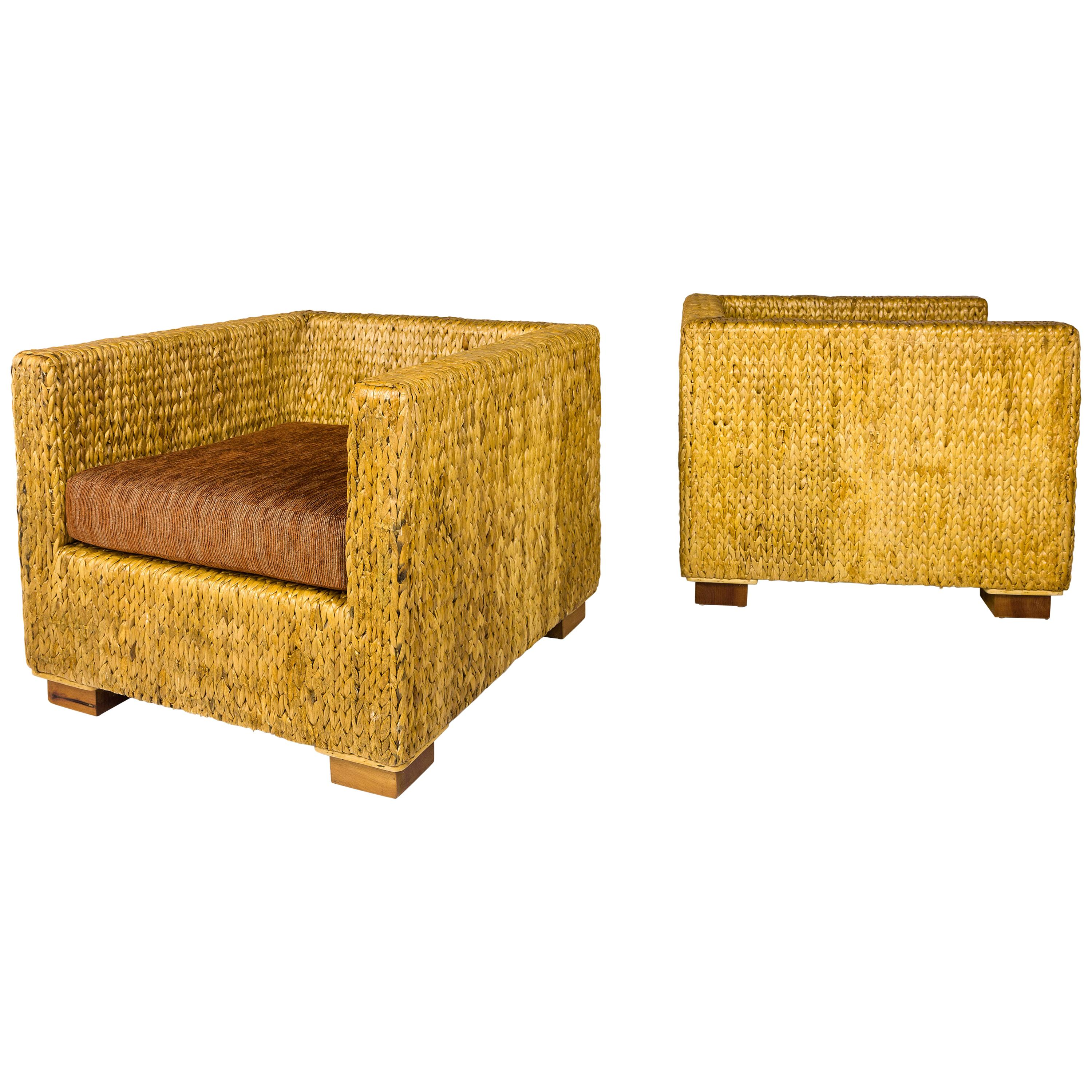 Pair of Straw Armchairs, circa 1980, France