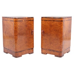 Pair of Art Deco Bedside Cabinets in Burr Maple