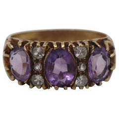 Victorian Style Amethyst and Diamond 9-Carat Gold Ring