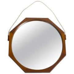 1960s Large Octagon Teak Wall Mirror with Thick Natural Fiber Rope from Italy