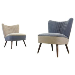Pair of Midcentury Cocktail Chairs 1960s, Germany in Grey and Blue Fabric