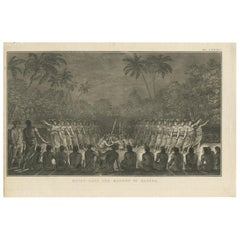 Antique Print of a Night Dance by Men from Hapaee by Cook, 1803