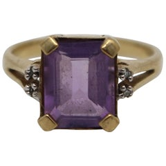 Emerald Cut Amethyst and Diamond 9-Carat Gold Ring